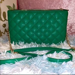Green✨Faux Fur Leather•Quilted Crossbody Purse
